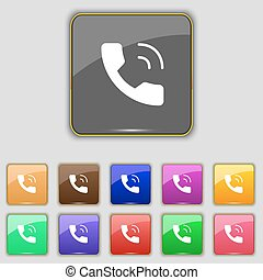 boutons, ensemble, coloré, téléphone, signe., site., onze, vecteur, ton, icône