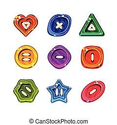 boutons, ensemble, coloré, vecteur, lustré, brillant