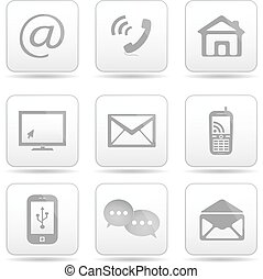 boutons, ensemble, contact, email, icons.