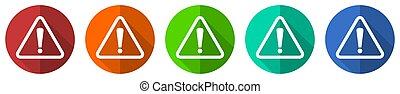 boutons, ensemble, danger, vecteur, rouges, icône, illustration, avertissement, orange, plat, bleu, isolé, conception toile, prudence, blanc, vert
