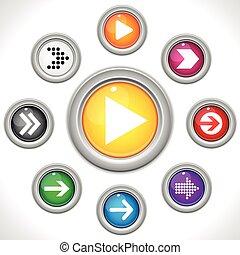 boutons, ensemble, flèches, coloré