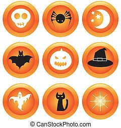 boutons, ensemble, halloween