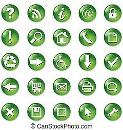 boutons, ensemble, icônes