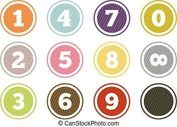 boutons, ensemble, nombre, coloré