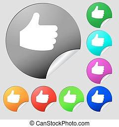 boutons, ensemble, signe., pouce, aimer, haut, vecteur, huit, multi-coloré, stickers., rond, icône