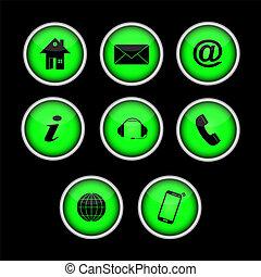 boutons, ensemble, sites web, symboles, contact, vert, applications.