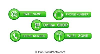 boutons, ensemble, sites web, symboles, contact, vert, apps.