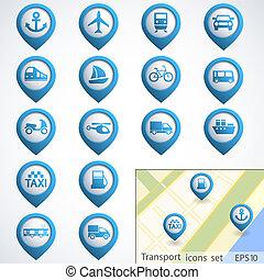 boutons, ensemble, transport