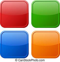 boutons, ensemble, vecteur, carrée