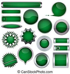boutons, ensemble, vert