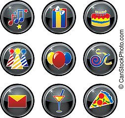 boutons, fête, icône