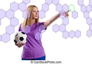 boutons, femme, urgent, virtuel, football