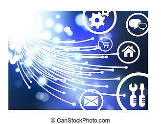 boutons, fibre, câble, optique, icônes, internet,...
