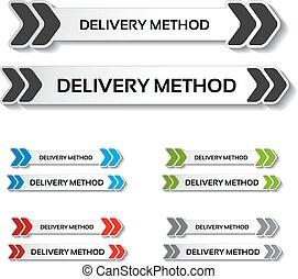 boutons, flèches, étiquettes, -, livraison, vecteur, camion, méthode