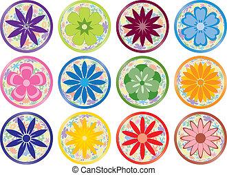 boutons, fleur, ou, icônes