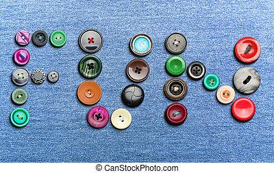 boutons, former, mot, coloré, 'fun'