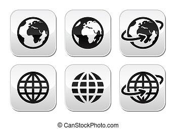 boutons, globe terre, vecteur, ensemble