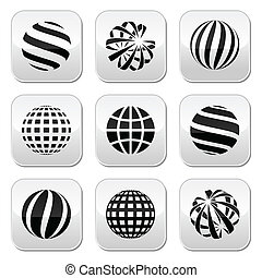 boutons, globe terre, vecteur, sphère