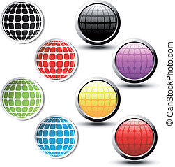 boutons, globe, vecteur, autocollants