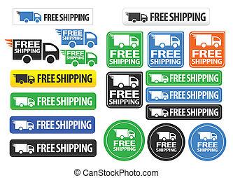boutons, gratuite, expédition, icônes