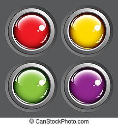 boutons, gris, arrière-plan coloré