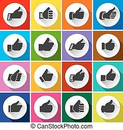 boutons, haut, blanc, rond, pouces