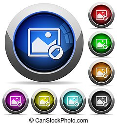 boutons, image, rond, étiquetage, lustré