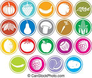 boutons, légumes, fruits, icônes