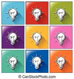 boutons, lightbulbs