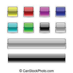 boutons, lustré, carrée