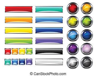 boutons, lustré, coloré