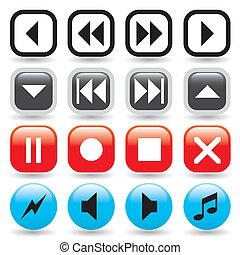 boutons, média, lustré, joueur
