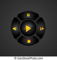 boutons, média, noir, joueur