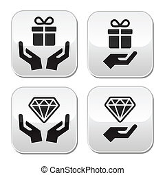 boutons, mains, diamant, présent