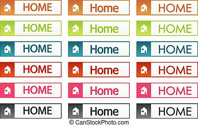boutons, maison, ensemble, coloré