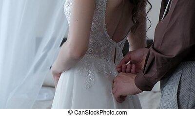 boutons, mariée, palefrenier, robe