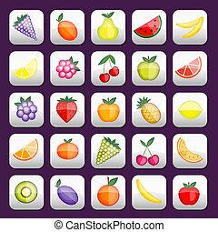 boutons, mettez stylique, ton, fruits