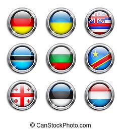 boutons, mondiale, drapeaux, rond
