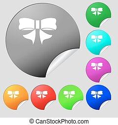 boutons, multi, ensemble, coloré, signe., arc, vecteur, huit, stickers., rond, ruban, icône