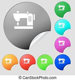 boutons, multi, ensemble, coloré, signe., machine coudre, vecteur, huit, stickers., rond, icône