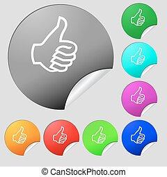 boutons, multi, ensemble, pouce, signe, symbole., haut, aimer, vecteur, huit, main, icon., stickers., coloré, rond, finger-up.