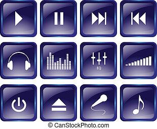 boutons, multimédia