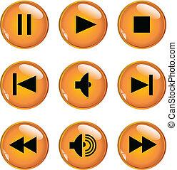 boutons, multimédia, -, vecteur