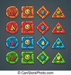 boutons, pierre, ensemble, coloré