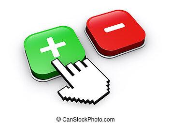 boutons, plus, moins, icônes