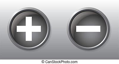 boutons, plus, moins signe