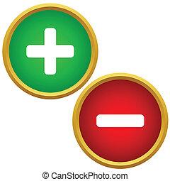 boutons, positif, négatif