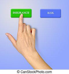 boutons, pour, assurance, et, risque