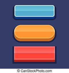 boutons, pour, jeux, utilisateur, interface.