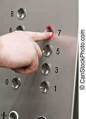 boutons, pousser, ascenseur, homme